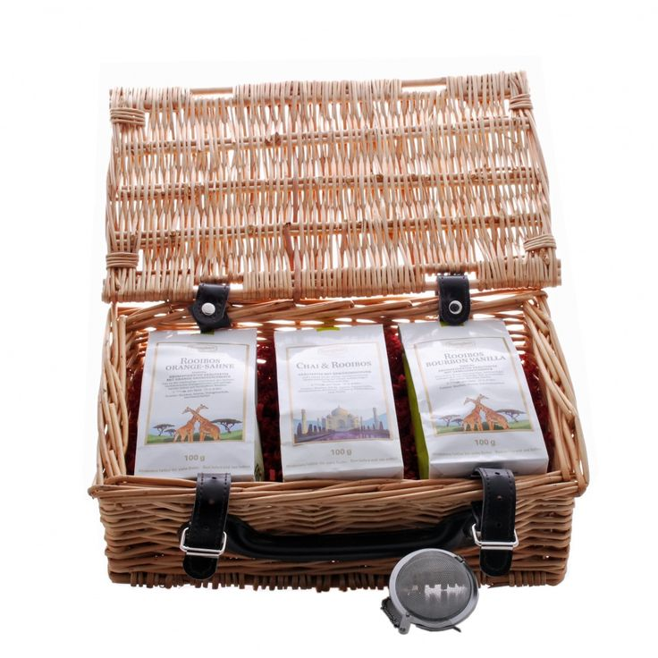 Three of the best Ronnefeldt Rooibos teas, with a tea ball, all beautifully presented in a wicker hamper. Give your body a boost with this naturally caffeine-free full bodied Rooibos - full of healthy goodness.