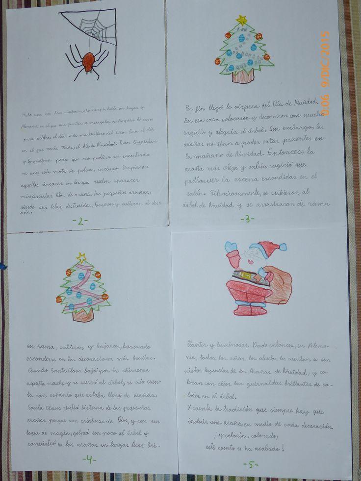 U bonito trabajo de mi hija. La Araña de la Navidad, cuento tradicional alemán.