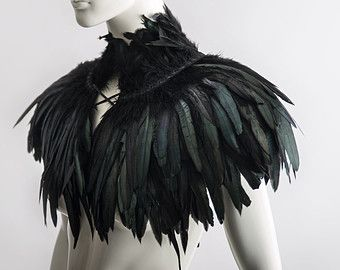 Feather capelet with high collar or feather shoulder wrap shrug Luxurious black feather cape Versatile feather accessory Edgy fashion