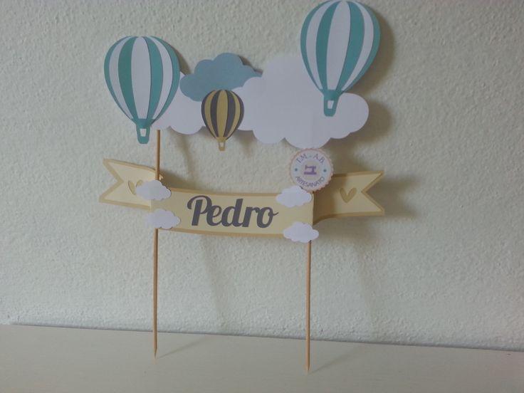 Feito em PAPEL!!  - - - - - -  Podemos fazer em outros temas e cores.  - - - - -  Tamanho:  Faixa escrito Pedro: 27,5 cm de comprimento.  Altura da ponta do palito até o balão + alto: 34,5 cm de altura.  Faixa de nuvem de uma ponta a outra: 23 cm de comprimento.     - - - - -