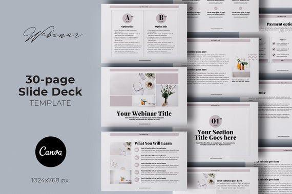 Webinar Slide Deck Canva Template Presentation Template Etsy Webinar Slides Webinar Workbook Template