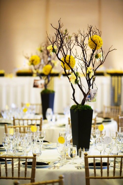 44 best yellow and black table settings images on for Long table centerpieces