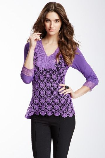 3/4 Length Sleeve Crochet Blouse by Simply Irresistible on @HauteLook - cute color