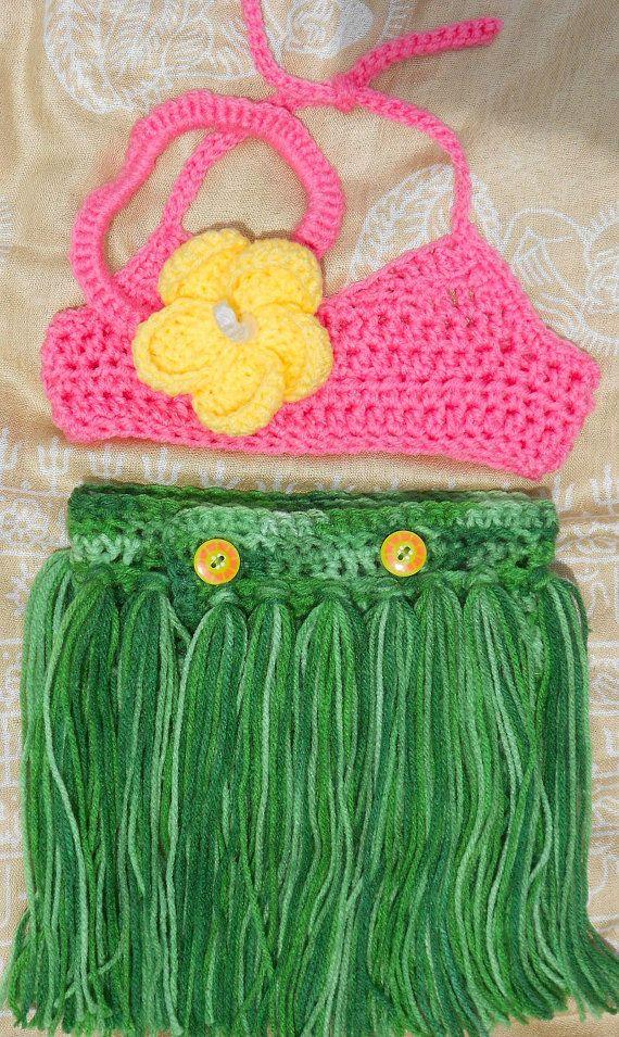 Luau photo prop 3 piece set grass skirt bikini top by JesssStuff, $45.00