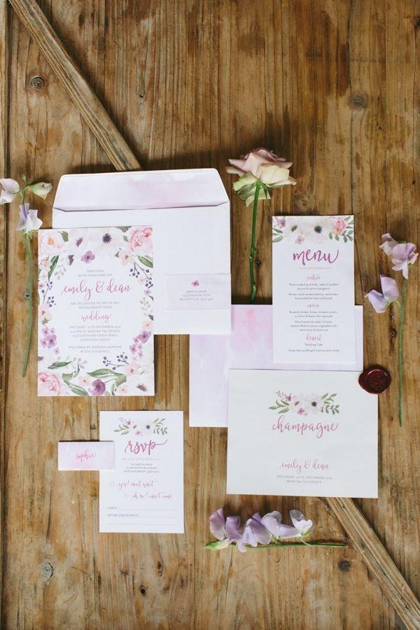 Floral Watercolor Wedding Invitation Suite
