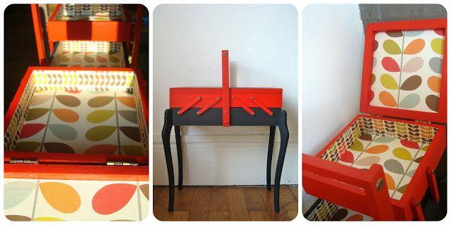 Petit meuble à couture, papier Orla Kiely. www.tadaam.fr