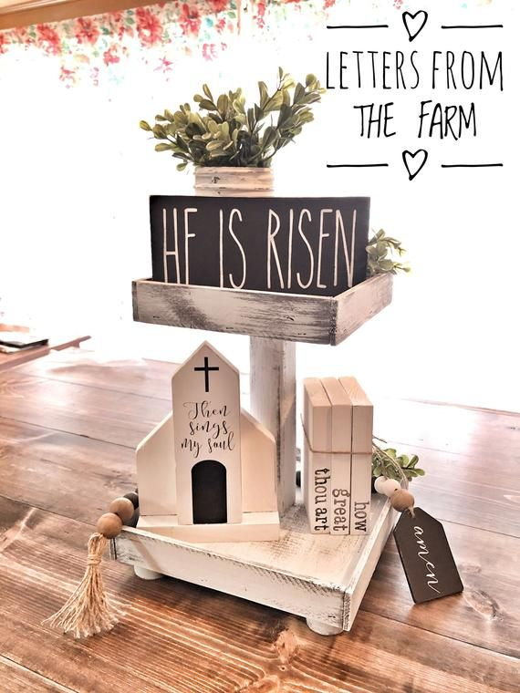 Mini Happy Easter House Shaped Decor-Mini Sign Decor-Tiered Tray Decor-Easter Farmhouse Decor