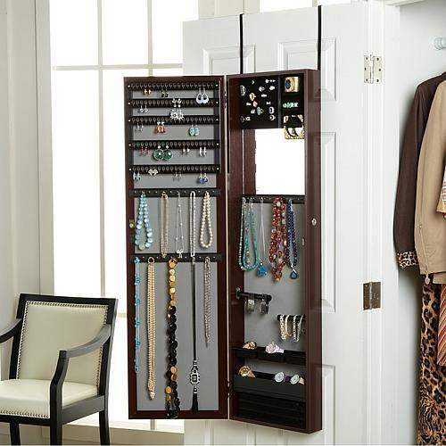 "Over-the-Door 48"" Jewelry Armoire with Full-Length Mirror - Global Metallic"