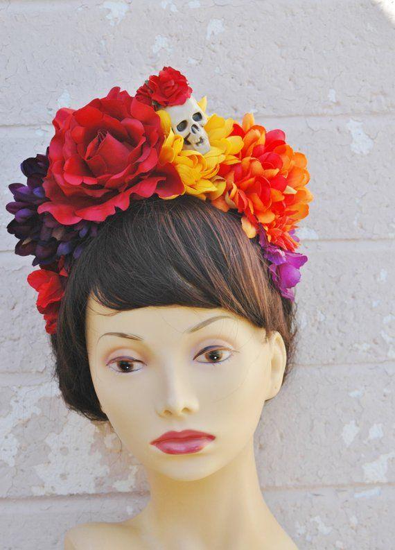 Dia De Los Muertos Headband Day Of The Dead Headpiece Flower Etsy Headpiece Diy Halloween Costumes Day Of The Dead