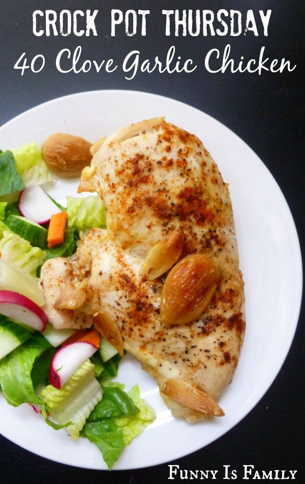 This Crockpot 40 Clove Garlic Chicken is an amazing dinner recipe your whole family will love. Low carb and healthy, you can't go wrong with this chicken meal!