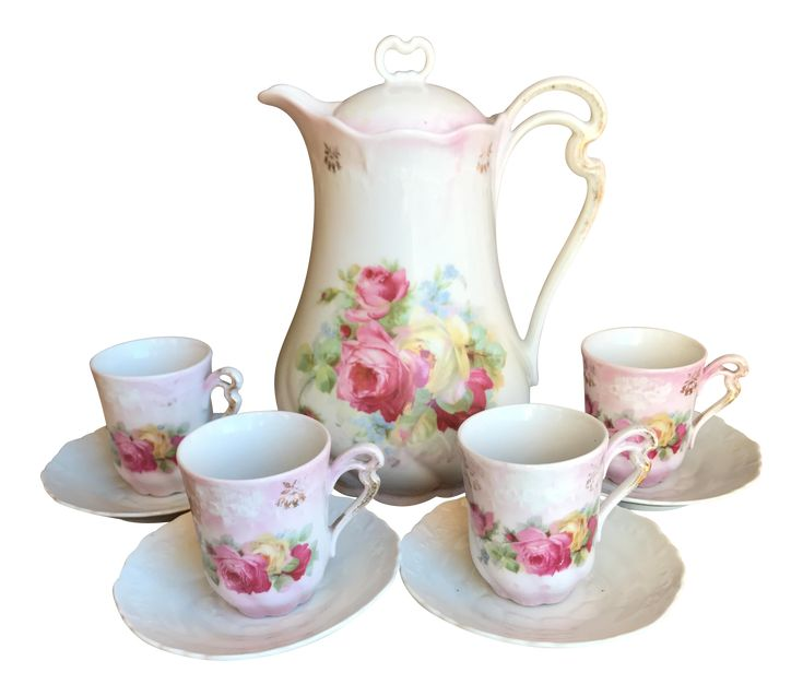 Vintage German Rose Tea Service Set - Set of 10 on Chairish.com