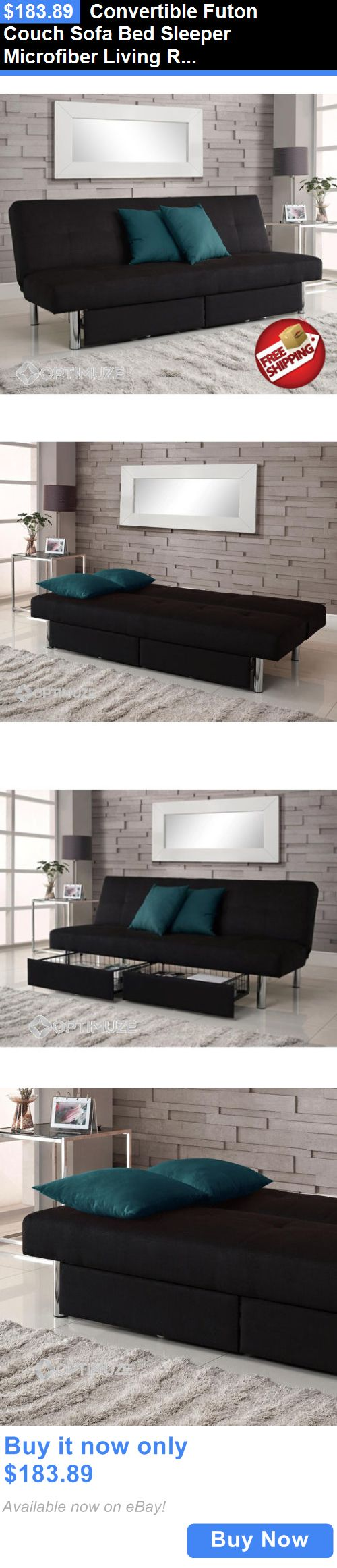 furniture: Convertible Futon Couch Sofa Bed Sleeper Microfiber Living Room Storage Black BUY IT NOW ONLY: $183.89