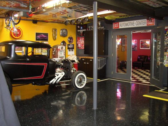 Functional Man Cave Garage : Quot garagemahal fun car guy garage with adjoining bar and