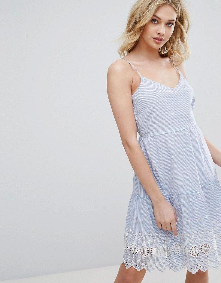 Vero Moda Broderie Detail Cami Dress - Blue