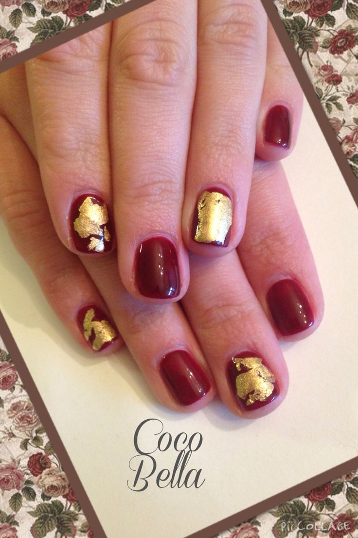 Gelish Touch of Sass with gold foil.