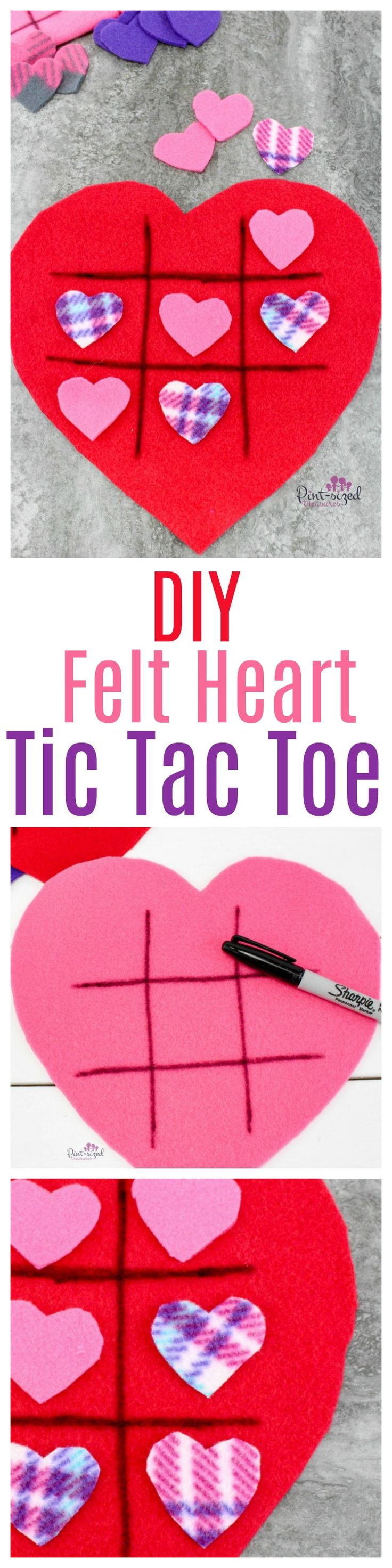 So fun! this SUPER easy, DIY felt heart-shaped Tic Tac Toe game is the perfect way to celebrate Valentine's Day the FUN way! Perfect for families or classes AND it's even super portable so you can keep a stash of these games ready to play when you're on-the-go. Go ahead and make some easy felt, heart-shaped Tic Tac Toe games today! #ValentinesDay #easycrafts #Craftsforkids #kbnmoms #kidsactivities #easyValentinesDaycrafts #ValentinesDaygames