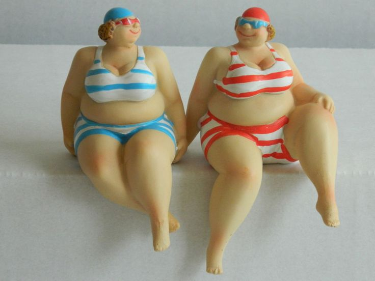 SEASIDE LARGE LADY /  FAT LADY IN BIKINI SHELF SITTER BATHROOM ORNAMENT NAUTICAL