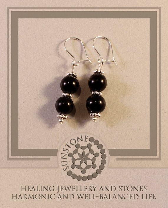 Black Onyx Gemstone Earrings with Tibetan beads by SunstoneCraft, £8.00