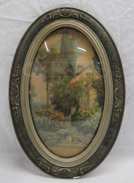 Vintage Oval Convex Framed Print Reverse Painting On Bubble Glass
