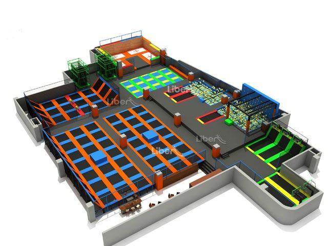 Astm large customize trampoline park trampoline park for Indoor trampoline park design manufacturing