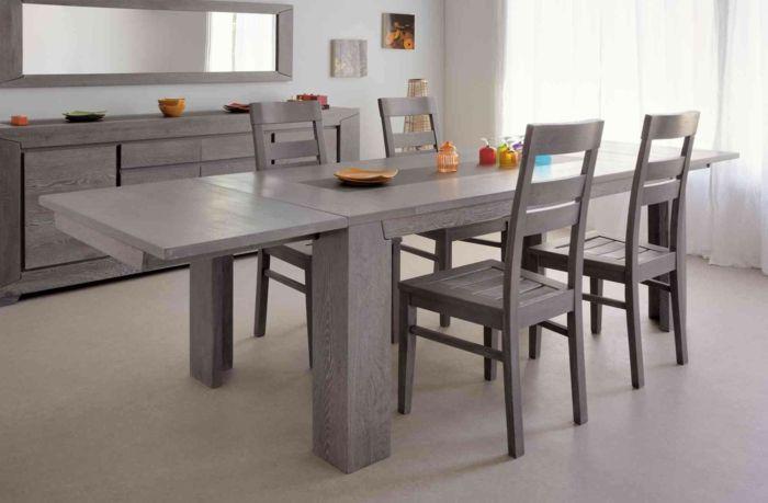 Tisch mit Stühlen grau kommode spiegel