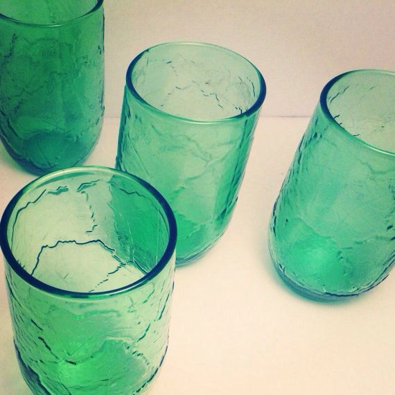 ocean drinking glasses | Set of 4 Vintage Bright Green Drinking Glasses