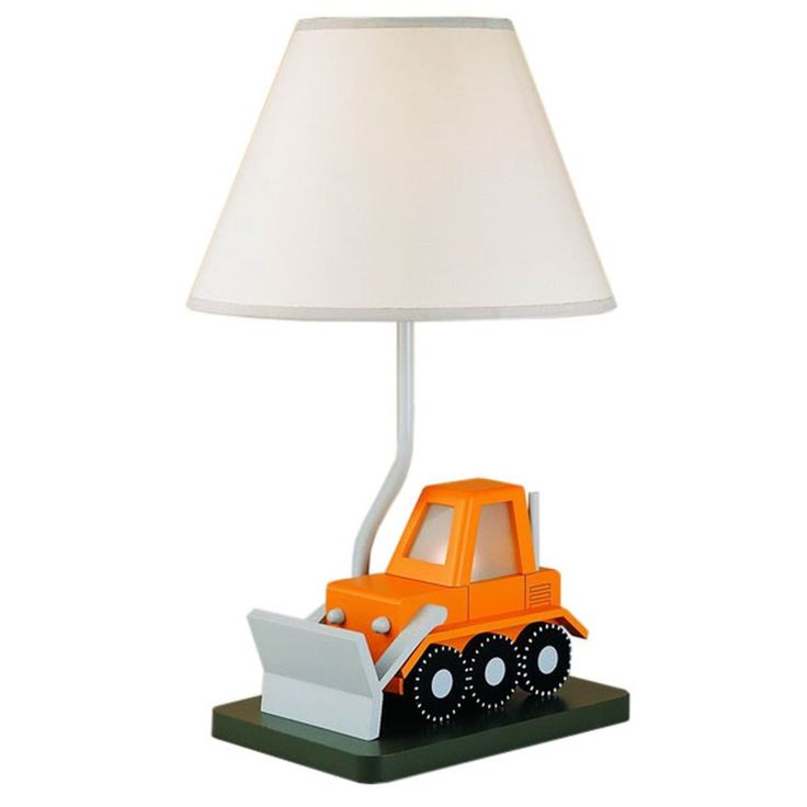 Cal Lighting BO-5667 Bull Dozer Childrens Table Lamp. Includes matching shade. 7W night light. Little to no assembly required.