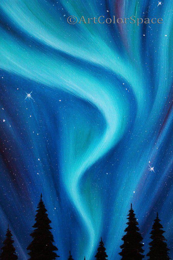 Aurora Borealis Oil Painting On Canvas Northern Lights Art