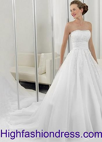 2012 Spring Style A-line Strapless Lace Sleeveless Chapel Train Organza White Wedding Dress For Brides