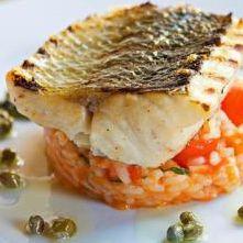 Gegrilde zeebaars met risotto, hoofdgerecht voor 4 personen:  4 zeebaarsfilets (à 150 g) 1 el olijfolie  voor de tomatenchutney 2 kg trostom...
