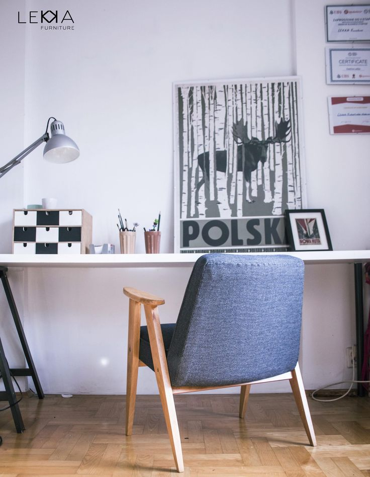 Fotel proj. J. Chierowski typ: 366. Data produkcji: 1962 r. Wnętrze. Plakat Ryszard Kaja. Biuro Armchiar designed by J.Chierowski. Midcentury design. Interior. Poster. Office