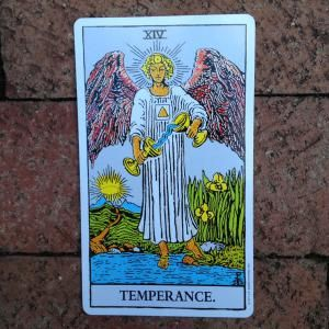 14Temperance_1500.JPG - Card from Rider Waite deck by US Gaming Systems, photo…