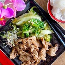 Delicious ginger pork with bok choy by Harumi Kurihara.