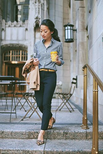 Black and white gingham shirt, black pants