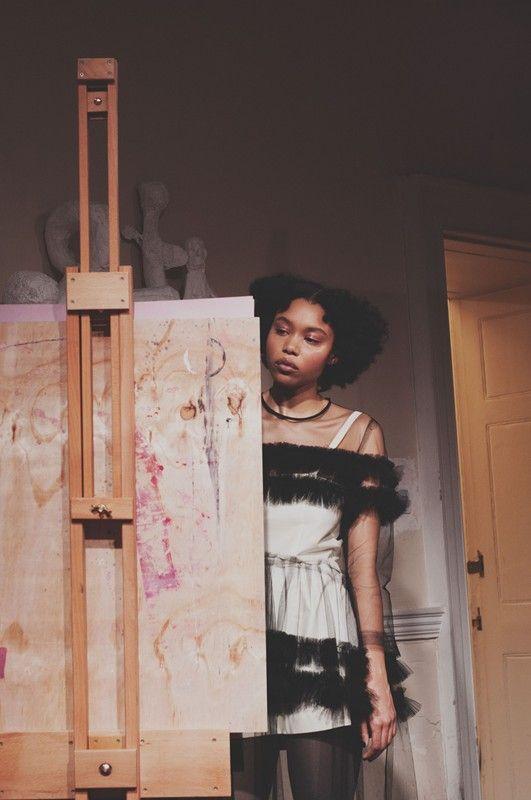 Painting in black frilled Molly Goddard AW15. More Molly Goddard: http://www.dazeddigital.com/fashion/article/23733/1/molly-goddard-aw15