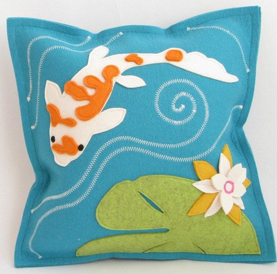 Koi Fish & Lily Pad Turquoise Pillow by Cheeky Monkey Home, available on Etsy!