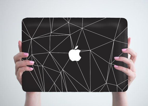 Laptop Case Black Geometry Macbook Cover Apple by RealDesignRocks