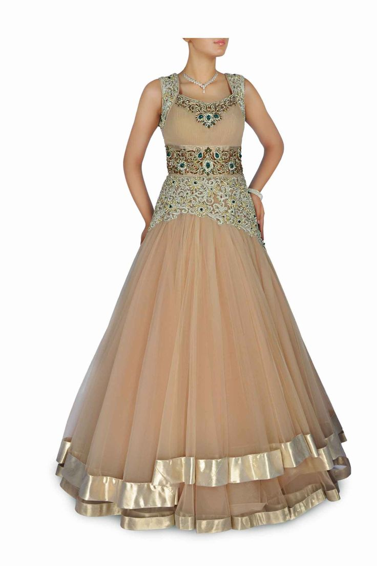 beige gown with Golden lurex panels