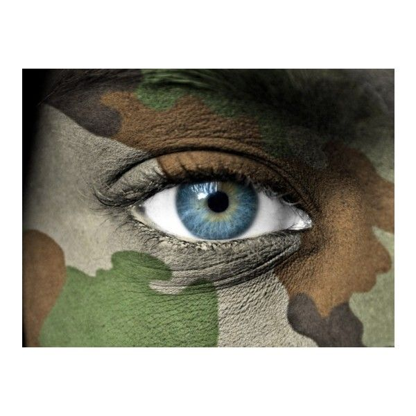 Next-Generation Camouflage Makeup Shields Soldiers From Bomb Blasts... ❤ liked on Polyvore featuring beauty products, makeup, eye makeup, beauty, eyes and backgrounds