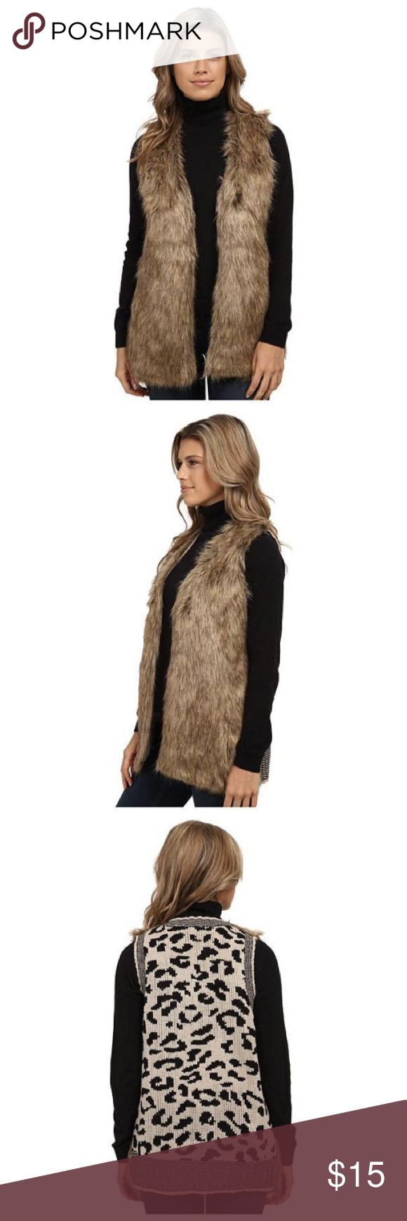 XOXO Leopard Sweater Back Fur Vest Women's Vest The ribbed details, leopard print designed XOXO Leopard Sweater Back Fur Vest is made from polyester, fur, acrylic. This XOXO vest will captivate and hold rapt attention to create a stalker-worthy look fit for poaching! 100% acrylic;Faux fur: 100% acrylic;Lining: 100% polyester. XOXO Jackets & Coats Vests