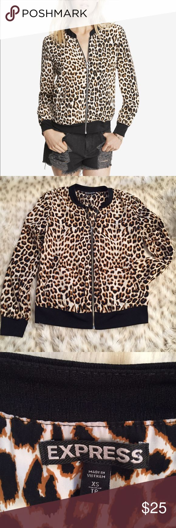 Express Leopard Bomber Jacket Express cheetah / leopard print lightweight bomber jacket full zip! No flaws. Size XS. Also could fit size small. So cute.perfect for this coming spring Express Jackets & Coats