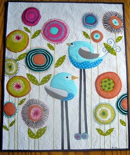 The flowers on this quilt are so cool!: Cute Quilts, Birdi Quilts, Baby Quilts, Little Birds, Birds Of Paradis, Birds Quilts, Baby Blankets, Quilts Ideas, Flower Quilts