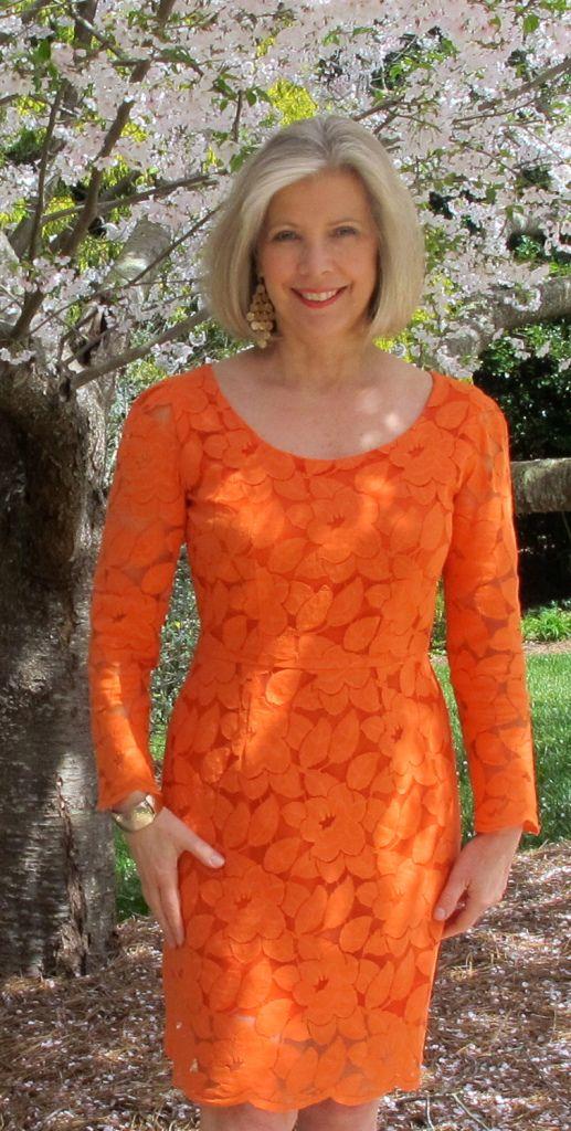 Dyed Orange Lace Dress