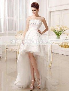 Traîne watteau mariage bretelles a-ligne sans bretelles robe de mariée