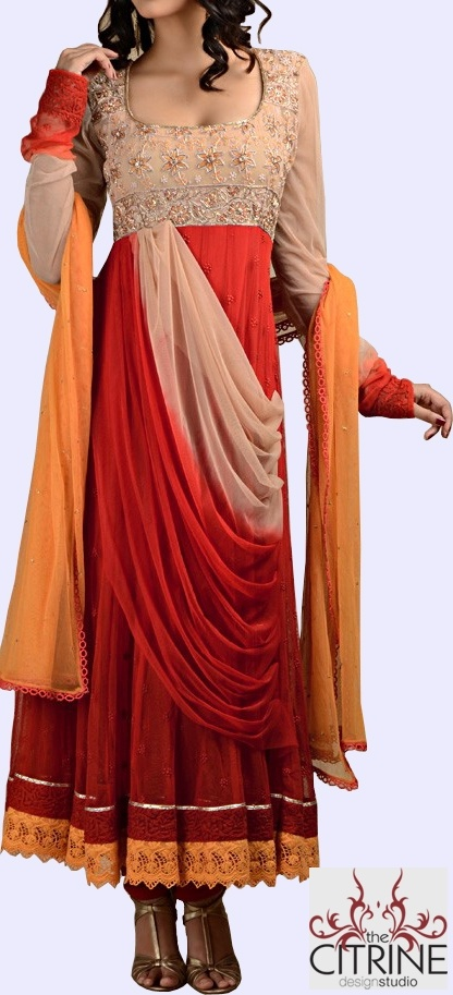 Indian Outfit - Carnation Red Net Kalidar Suit