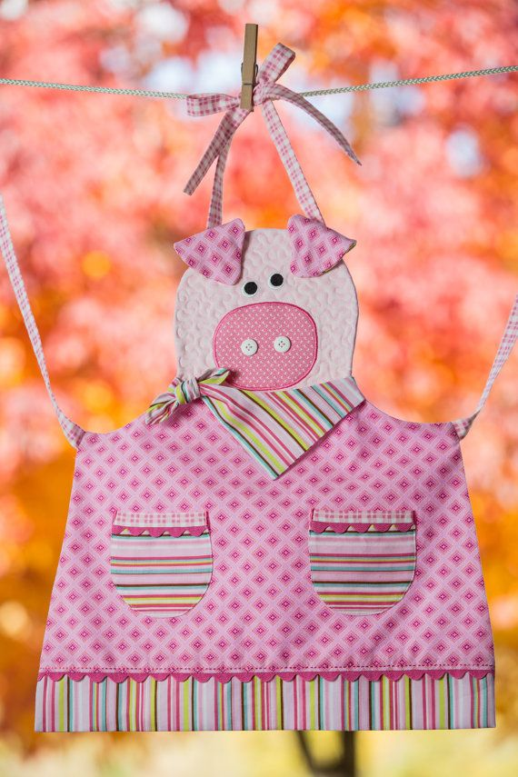Children's Quilted Pink Piggy Apron by NorahJanes on Etsy http://www.etsy.com/people/norahjanes