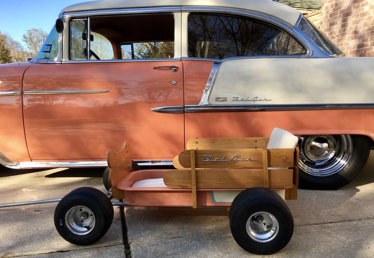"""Wagon for my granddaughters to cruise around shows with my '55 - Chevy """"ITZA55"""" dropped frame, tuck and roll cushions, go-kart slicks, aluminum rims, both India Ivory over Coral, original Chevy clors"""