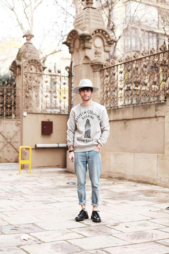 Acne Studios sweatshirt, Cheap Monday jeans, Le Gramme bracelets and Prada shoes