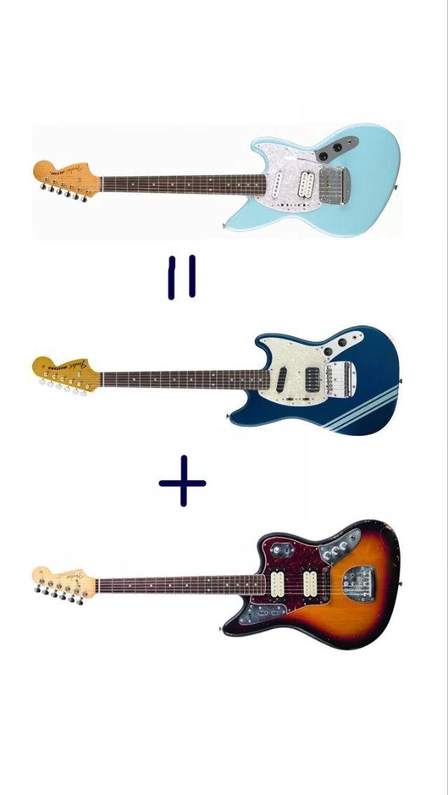 Kurt Cobain Fender Mustang, Jaguar, and Jagstang guitars. Nirvana.