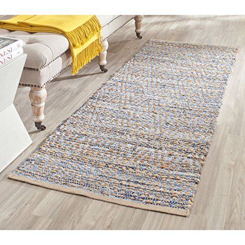Safavieh Cape Cod Collection CAP351A Hand Woven Natural and Blue Cotton Runner, 2 feet 3 inches by 8 feet (2'3 x 8')